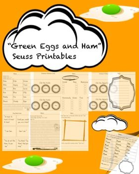 """This packet contains worksheets and activities for the book, """"Green Eggs and Ham"""" by Dr. Seuss. Preview Available!"""