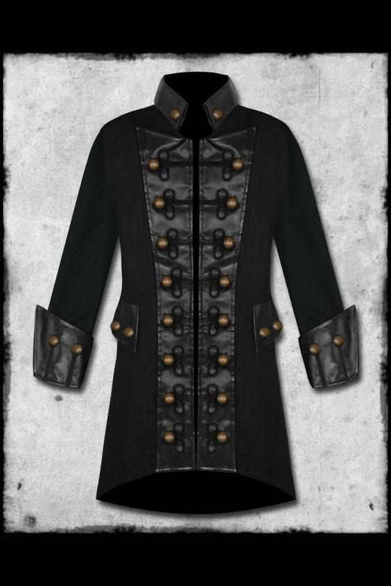 Raven Men&39s Steampunk / Renaissance Goth Military Style Jacket