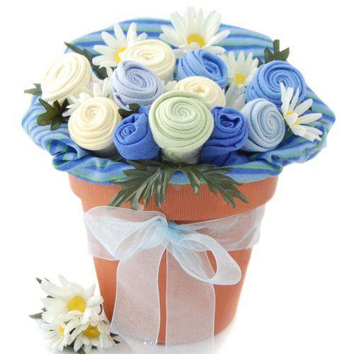 very cute...flower pot of baby cloths: Shower Ideas, Boy Gift, Shower Gifts, Gift Ideas, Baby Gifts, Baby Shower Gift, Baby Shower