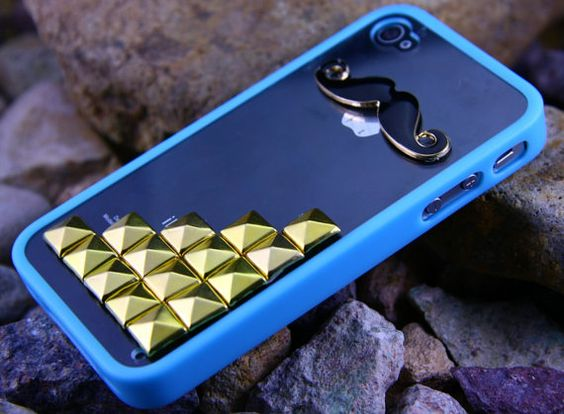 Iphone 5 Black Mustache Case , Studded iPhone 5 Case with Golden Studs,