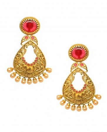Golden Leaf Shape Earrings with Red Stone Top