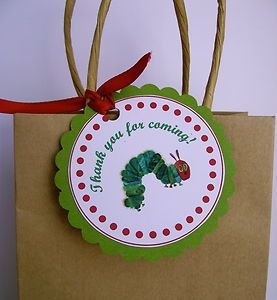 Hungry Caterpillar birthday thank you tags