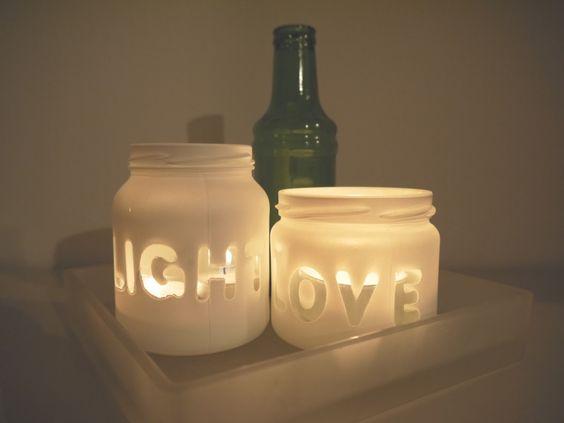 glazen potjes met eigen tekst   glazen potjes (mason jars)   Pinterest   Google, Met and Candles