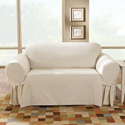 Cotton Duck Box Cushion Loveseat Slipcover In 2020 Slipcovered Sofa Slipcovers For Chairs Loveseat Slipcovers