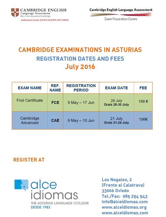 Exámenes de Cambridge. Convocatoria Julio 2016.