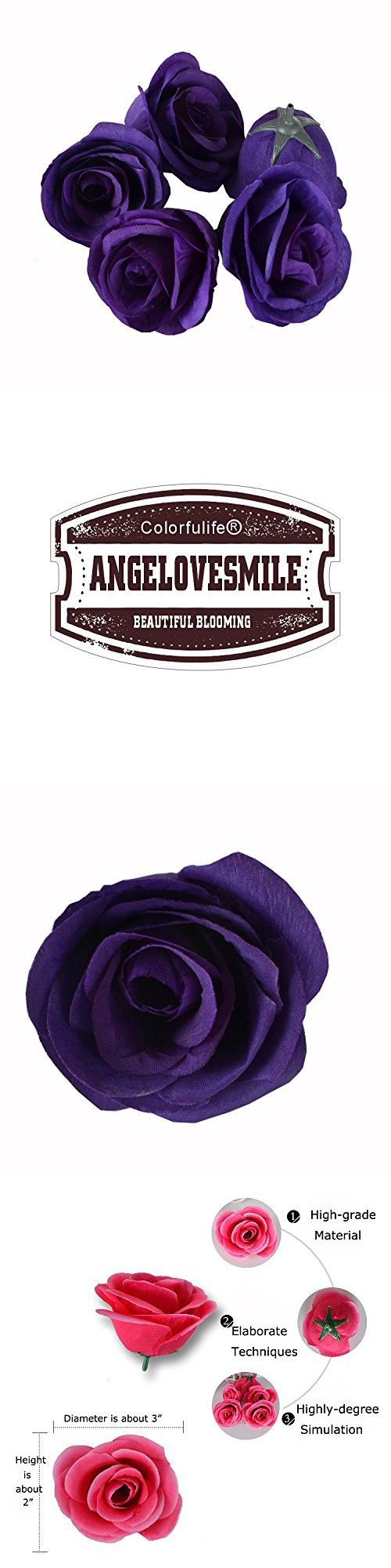 50pcs Artificial Silk 3.1 Rose Head Colorfulife/® Simulation Flower Beautiful Wedding Home Party Decoration Bridal Hair Decorative,9 Colors Dark Purple anglovesmile