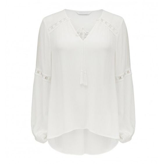 Forever New Willa Lace Insert Casual Blouse ($50) ❤ liked on Polyvore featuring tops, blouses, flat top, white top, forever new, lace inset top and white blouse