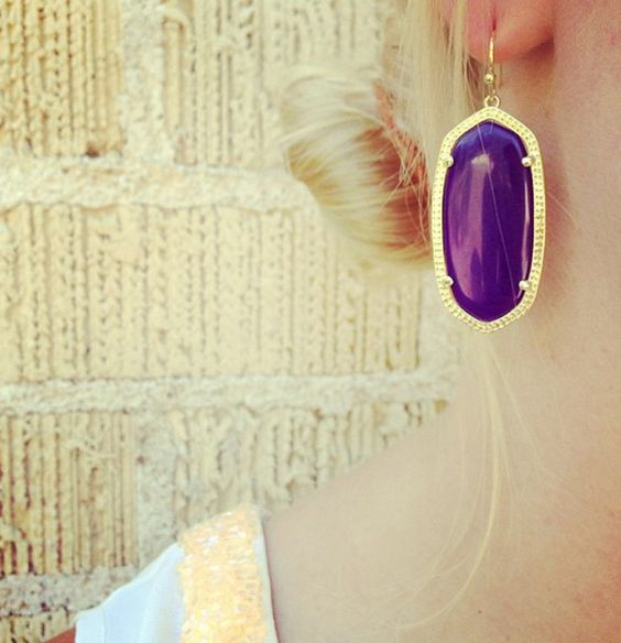 Purple Jade and Gold, Oversized, Oval Drop Earrings