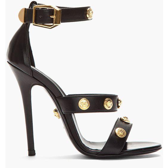 VERSACE Black Leather Gold Medallion Heels: