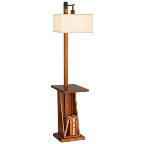 Astor place walnut tray and shelf floor lamp p9449 for Floor lamp with shelves