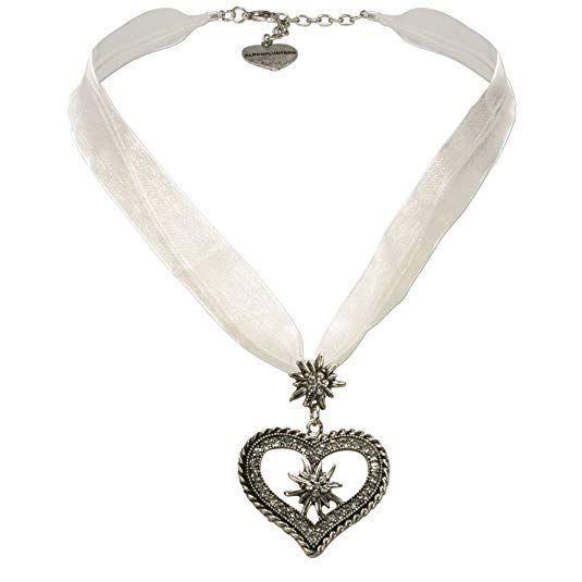 Kette Mini Herz mit Edelweiss Oktoberfest Wiesn Trachten Dirndl Gaudi Necklace