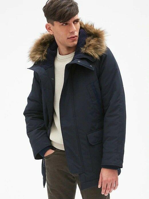 Mens Black Parka Jacket With Fur Hood