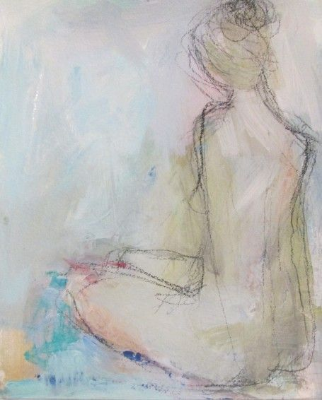 Beautiful nude watercolor with pastels by Holly Irwin.