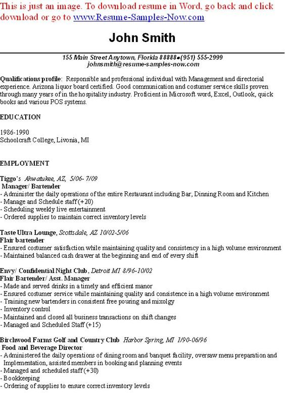 resume free examples 1000 free resume examples compare - resume for a bartender