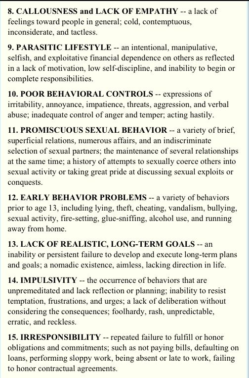 female sociopath checklist