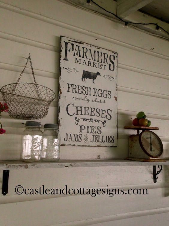 Vintage Farmers Market Sign Farmhouse vintage Farm...