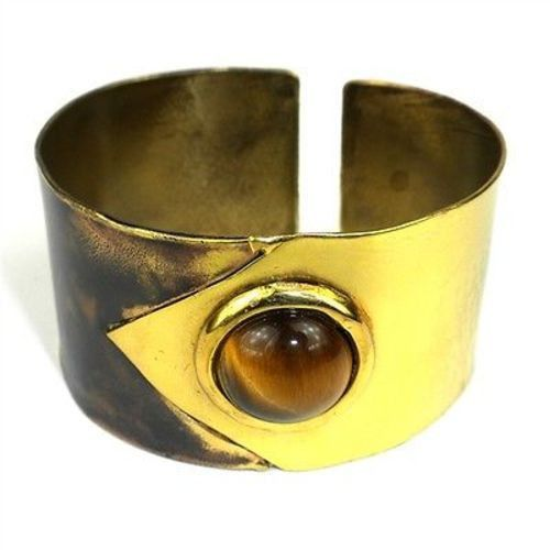 """Tiger Eye """"To the Point"""" Brass Cuff - Brass Images (C)"""