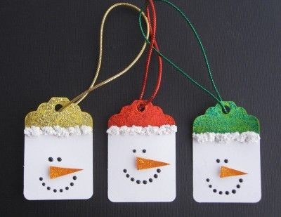 Snowmen gift tags! What could be cuter? Handmade from card and glitter glue - color coordinate to match your wrapping paper