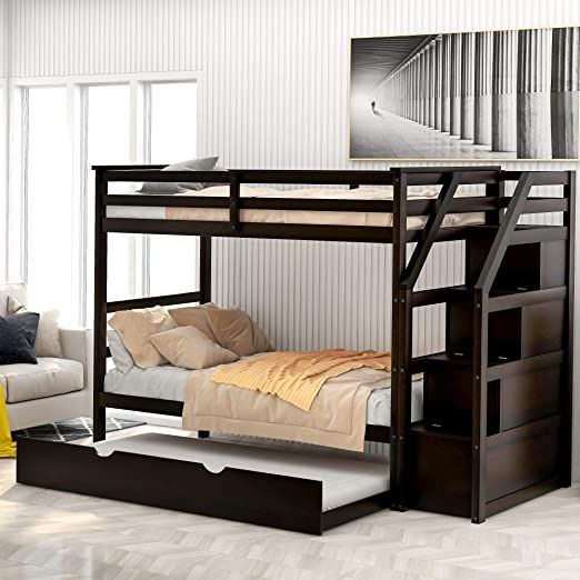Twin Over Twin Bunk Bed For Kids Wood Twin Bunk Bed With Storage And Trundle Bunk Beds With Storage Bunk Beds Cool Bunk Beds Twin over twin with trundle