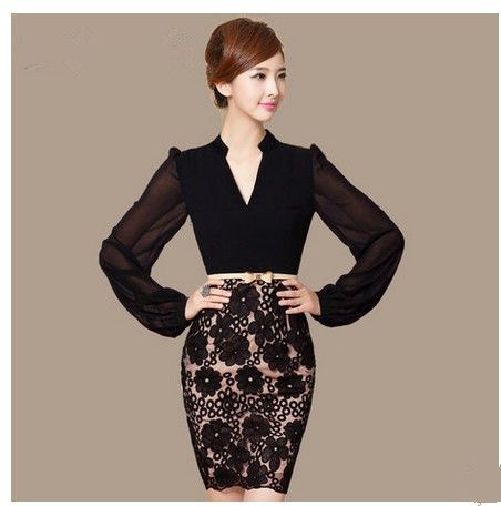 2014 spring Women's fashion elegant OL lantern sleeve clothing business office lady Pencil Dress , black sell like hot cakes