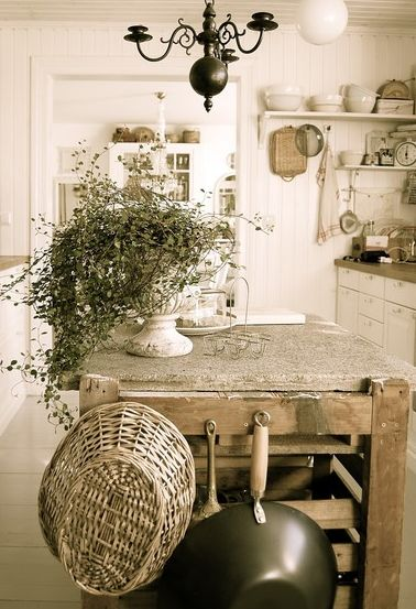 Gorgeous French Country kitchen in light neutral tones.