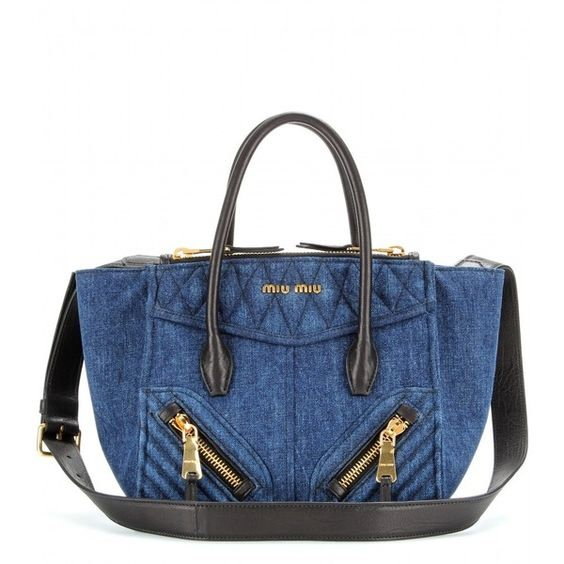 Miu Miu Denim Tote With Leather