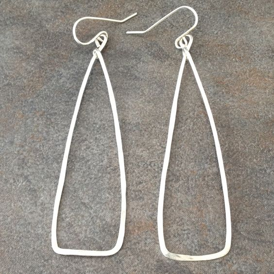 Sterling Silver Bold Triangle Earrings