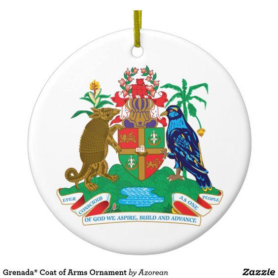 Grenada Coat Of Arms Ornament Zazzle Com Coat Of Arms Ornaments Caribbean Gift