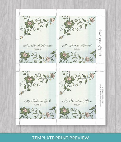 Place Card Template Word Awesome Watercolor Flowers Place Card Template Download Print Free Business Card Templates Card Templates Free Place Card Template