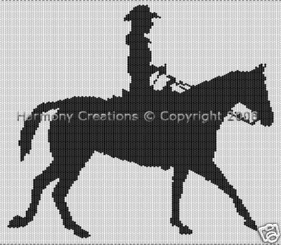 New Bead Pattern Cowgirl and her Horse Silhouette Peyote or Loom Stitch Tapistry.  Visit: www.bonanza.com/... where you will find over 290 items from beads, beading supplies, bead patterns, jewelry. Plus instructional books on jewelry makeing, beading, polymer clay and precious metal clay. Thank you for looking.