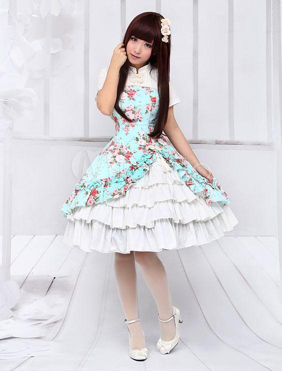 Ethnic Sleeveless Cascading Ruffled Lolita Dress For Women