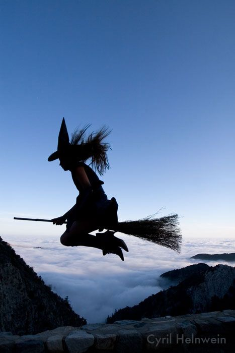 Cyril Helnwein photo flying Witch broomstick