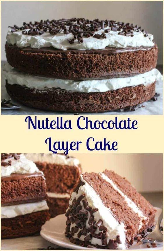 Nutella Chocolate Layer Cake Ein Einfaches Torten Dessert Der
