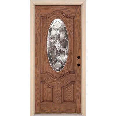 Feather river doors eclipse zinc 3 4 oval lite stained medium oak fiberglass entry door 7e2490 - Home depot feather river door ...