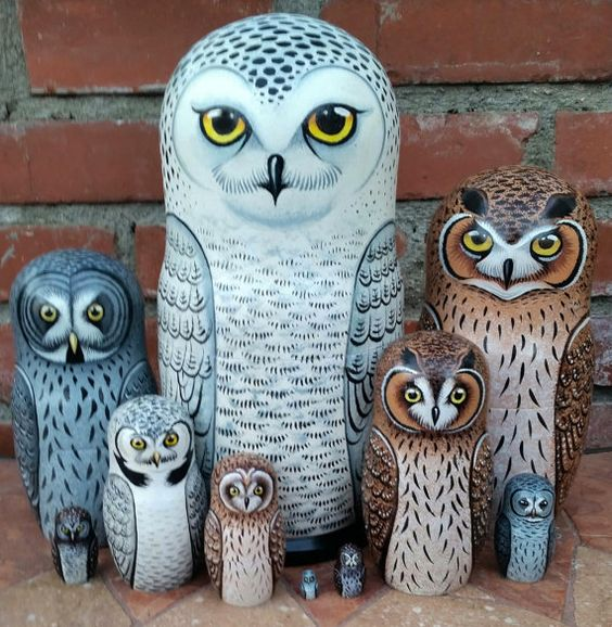 Owls on the Set of Ten Russian Nesting Dolls. Snowy Owl.