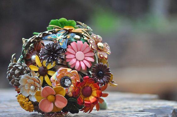Wedding Bridal Brooch Bouquet - Fall Gold, Chocolate, Green, Peach, Orange, Yellow, Butterflies OOAK