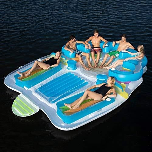 Inflatable Bench Seat With Backrests And Cooler Floating Island Inflatable Tropicaltahiti Toy Infla In 2020 Lake Floats Inflatable Island Inflatable Floating Island