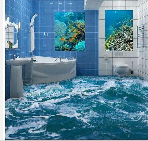 Murah foto kustom lantai wallpaper 3d stereoscopic air for Mural hidupan laut