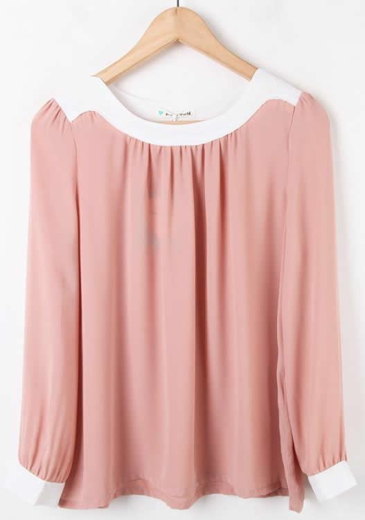 Pink Long Sleeve Contrast Trims Pleated Chiffon Blouse