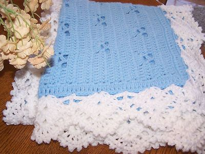 Crochet Baby Afghan Blanket Soft Blue Scallop White Border | eBay
