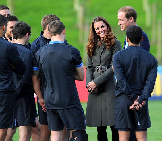 Kate Middleton and Prince William spoke with the English soccer team during the official launch of the Football Association's National Football Centre at St. George's Park in Burton-upon-Trent, England, October 9