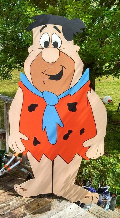 Fred flintstone yard art decoration for Wooden christmas cutouts