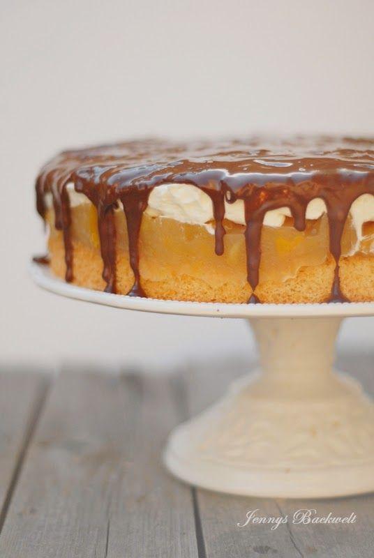 Apfel-Pfirsich Torte mit Schokoguss