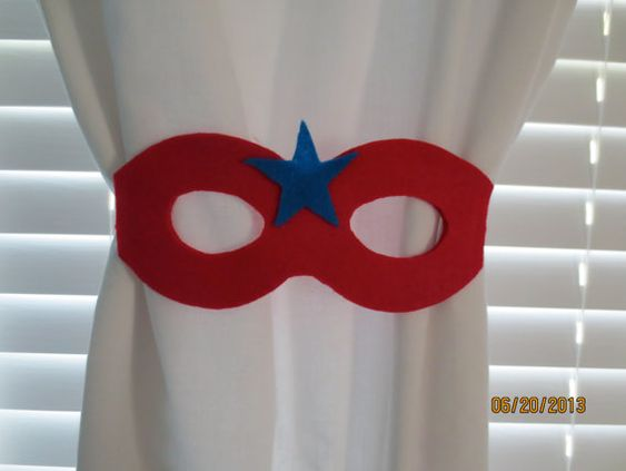 Do you have a superhero in your family? These tie-backs make a great accent to your little superheros room! The set comes with two blue tie-back masks or two red tie-back masks. You can also order one red mask and one blue mask. Please specify which option you would like when ordering.  Make time is based on sales activity and changes daily. Please respect the time needed to make each item. Additionally, please allow a few extra days if multiple tiebacks are ordered.