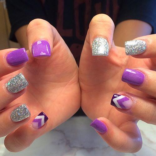 Purple & glitter chevron print nail art
