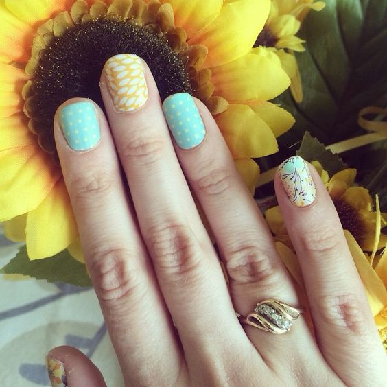Sweet whimsy Sunny lotus Teal mini polka Jamberry manicure Katilynn.jamberrynails.net