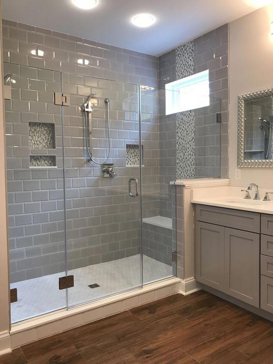 #LargeShower #GrayTile #GrayCabinet #WoodTile #Bathroom #WindowInShower #Gray #Grey #dreambathroommasterbaths