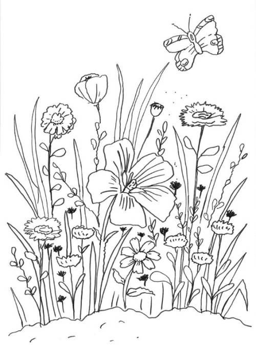 Blumen Blumenwiese Zum Ausmalen Ausmalen Blumen Blumenwiese Stickerei Blumen Ausmalbilder Malvorlagen Blumen Blumen Wiese