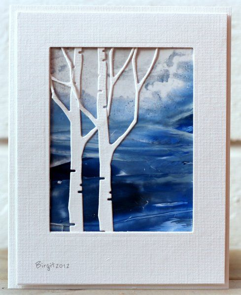"WOW! card with stark white birch die cuts in front of vivid blue scene created with encaustic wax...another ""card as art"" from Birgit..."