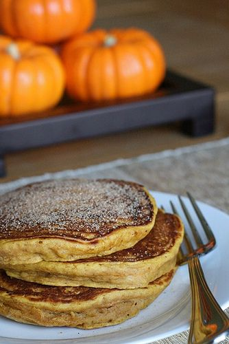 Pumpkin Spice Pancakes  Ingredients:  1¼ cups all-purpose flour  2 tbsp. brown sugar  2 tsp. baking powder  ¼ tsp. salt  ¾ tsp. ground cinnamon  ¼ tsp. ground nutmeg  Dash of ground ginger  Dash of ground cloves  1 cup milk  ½ cup pumpkin puree  1 large egg  2 tbsp. vegetable oil or melted butter    Directions:  In a medium mixing bowl, combine the flour, brown sugar, baking powder, salt and spices and stir with a fork to combine.  Mix together the milk, pumpkin puree, egg and oil or butter…